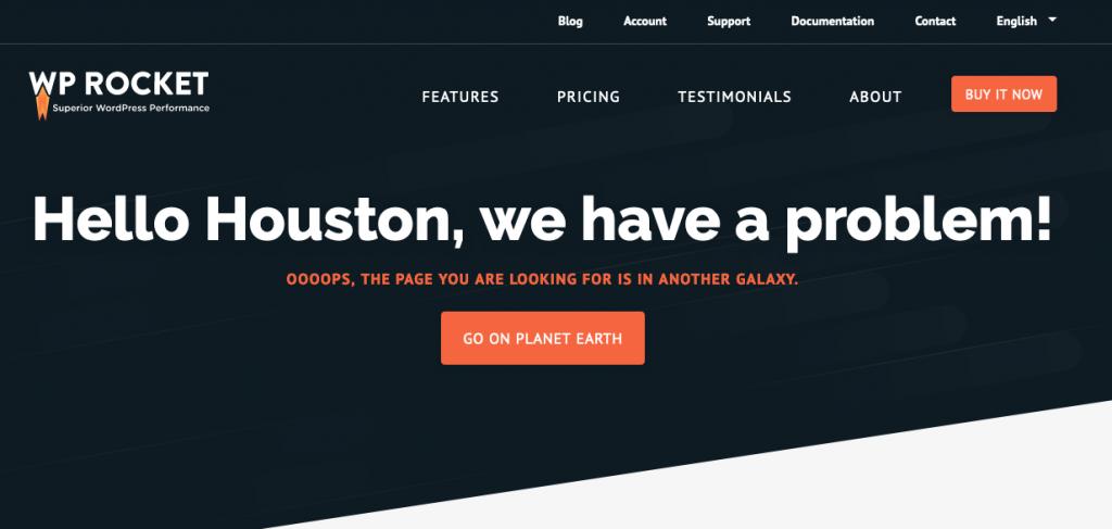 WPRocket's 404 page