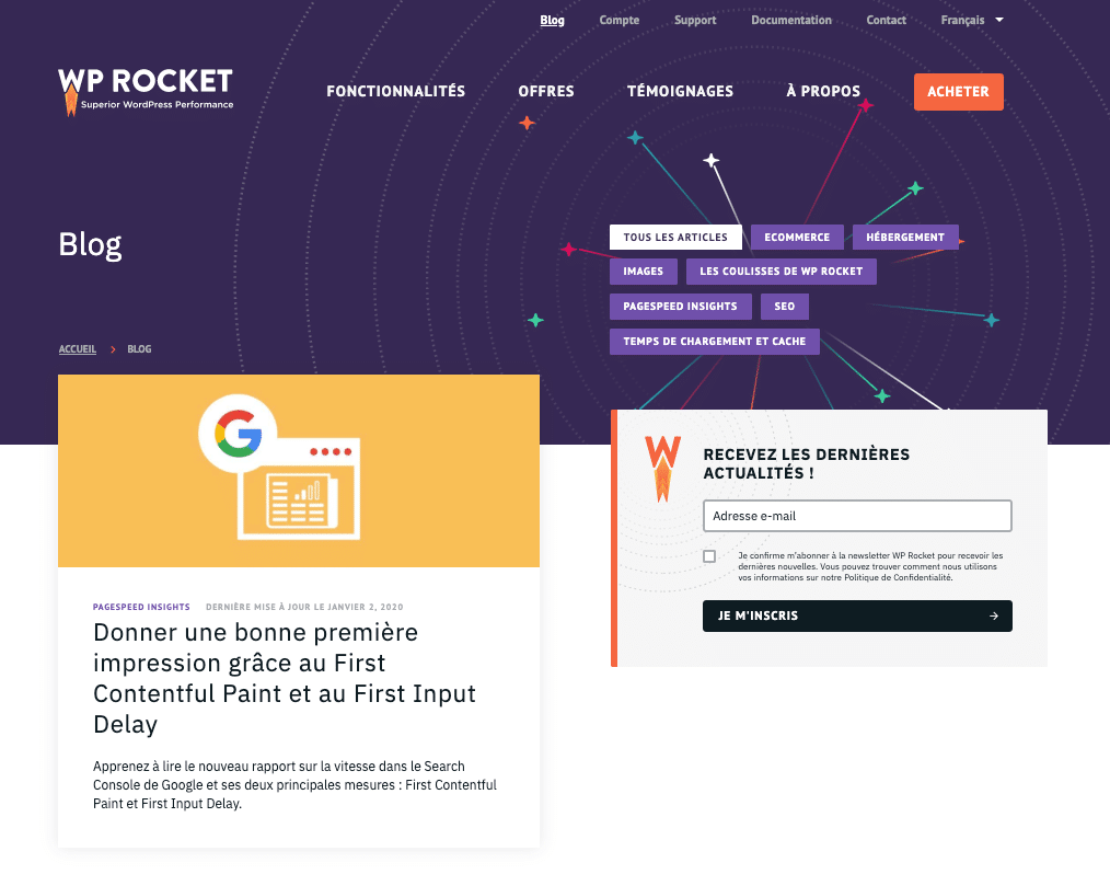 Le nouveau design du blog de WP Rocket