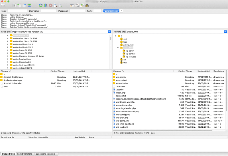 Filezilla Interface