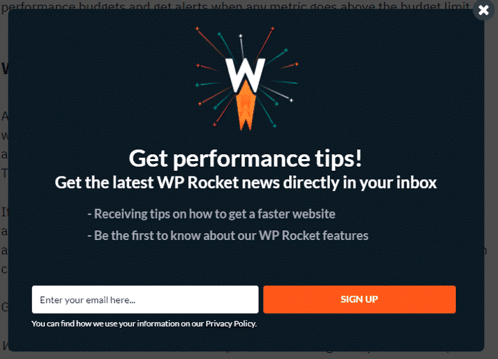 Exit Intent Pop-Up in WP Rocket Website