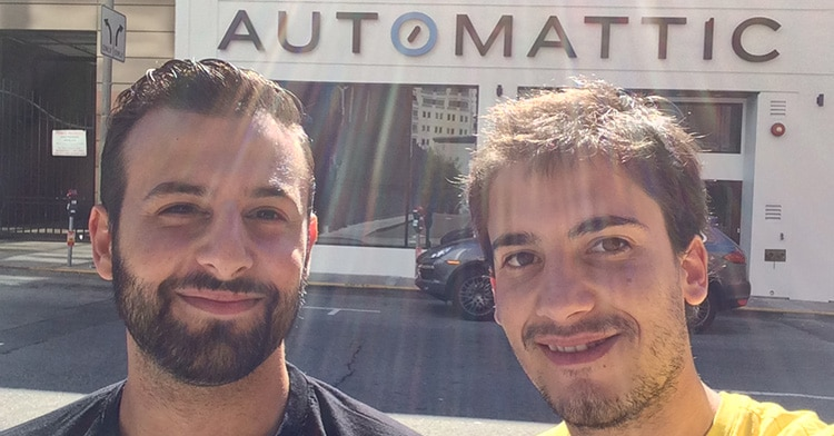 Jonathan and Jean-Baptiste in front of Automattic  office