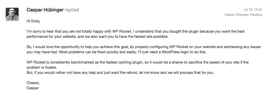 wp-rocket-refund-first-response