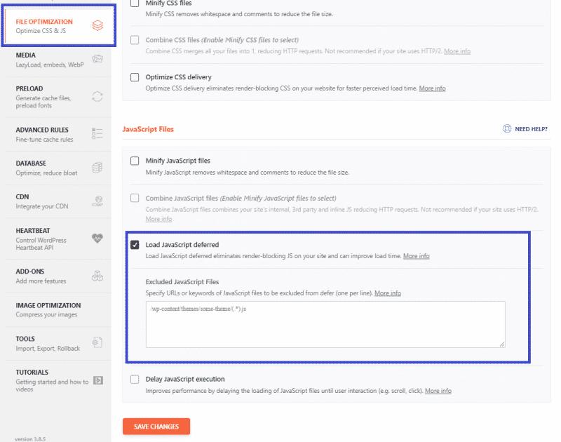 File optimization Tab - Load JavaScript deferred