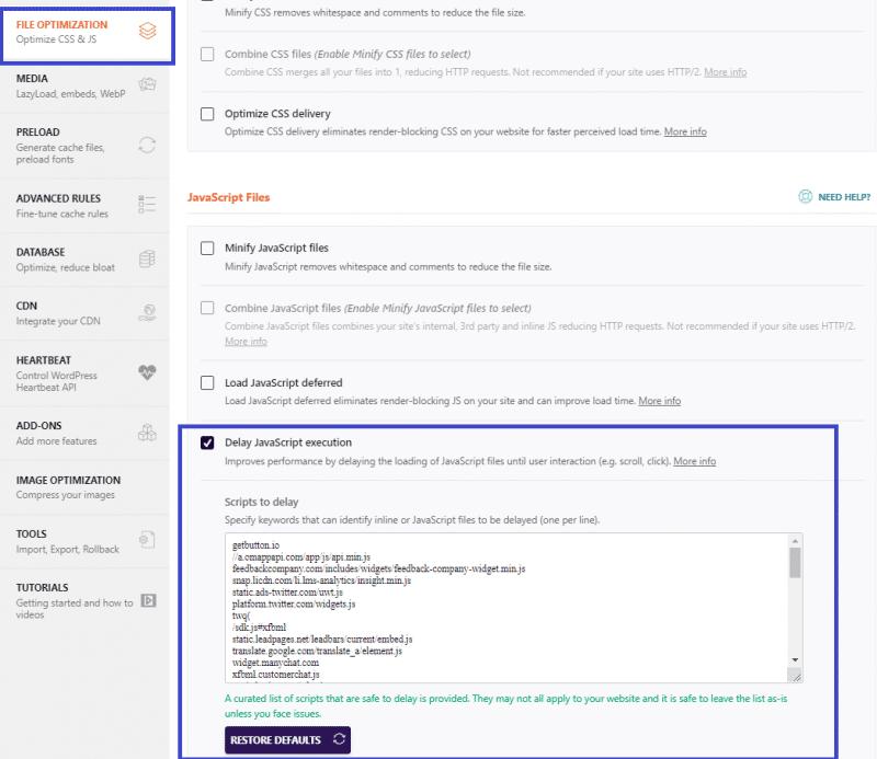 Delay JavaScript Execution tab - WP Rocket
