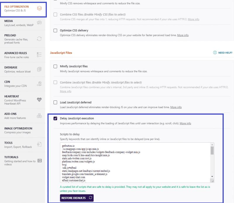 File optimization tab - Delay JavaScript execution