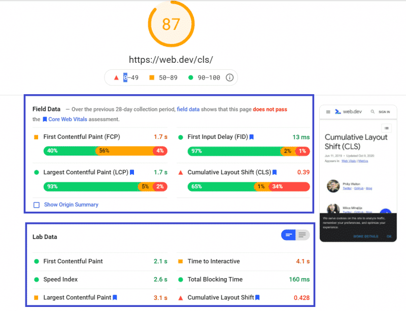 PageSpeed score - Bad CLS grade