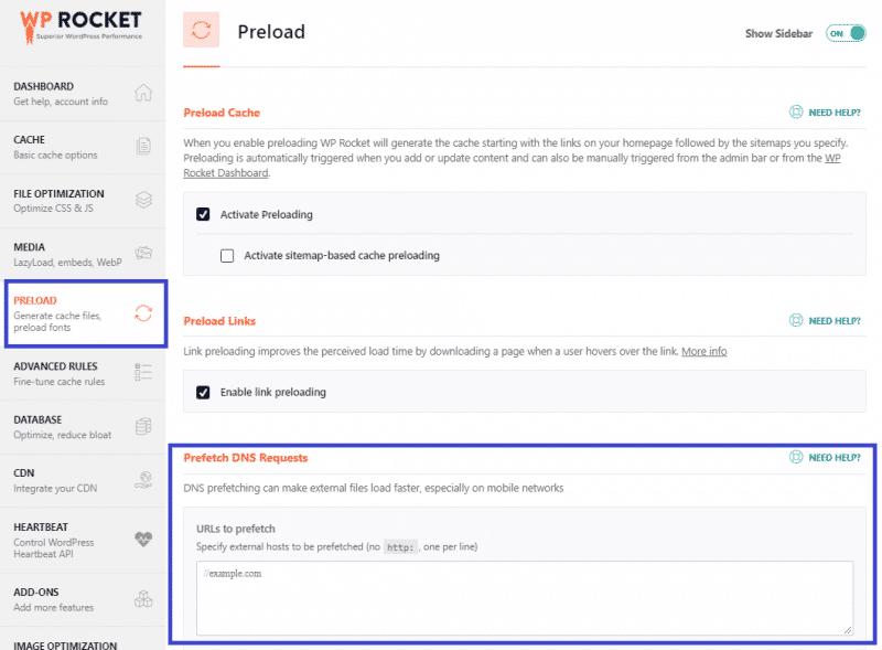 Preload tab - Preload fonts feature