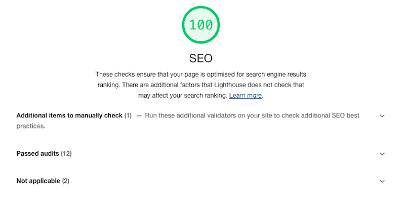 """The """"SEO"""" section - Source: Lighthouse report from Google Chrome Dev Tools"""
