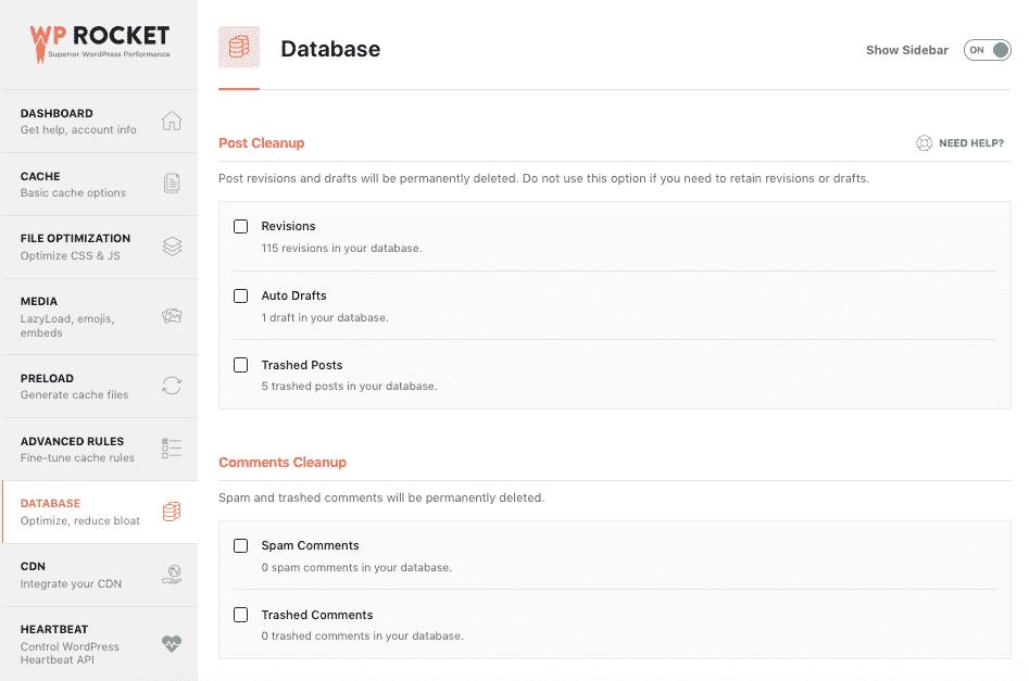 The database tab - WP Rocket