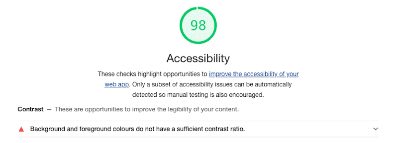 """The """"Accessibility"""" section - Source: Lighthouse report from Google Chrome Dev Tools"""