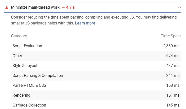 Minimize main-thread work - PSI