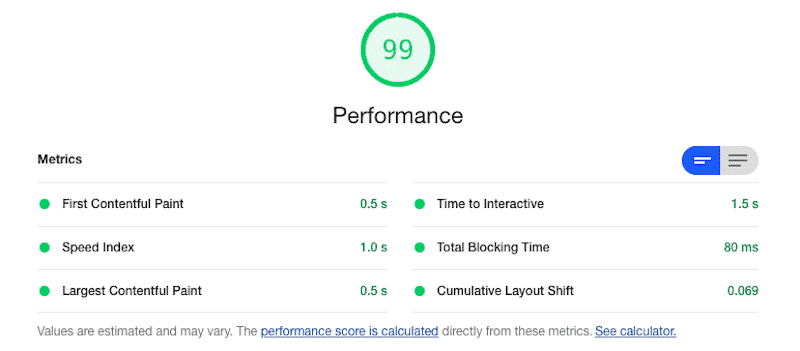 """The """"Perfformance"""" section - Source: Lighthouse report from Google Chrome Dev Tools"""