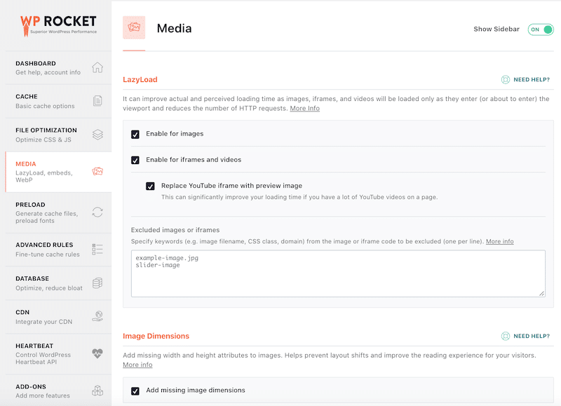 Media Optimization - WP Rocket Dashboard
