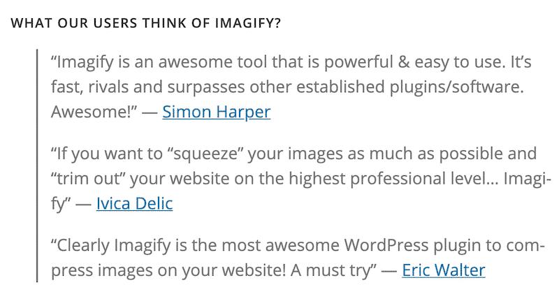 Imagify testimonials - WordPress.org