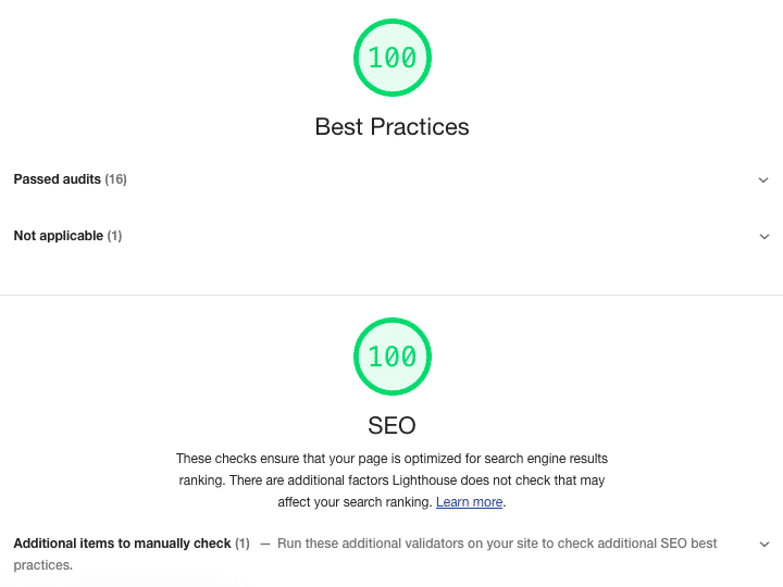 Lighthouse Best Practices and SEO audit scores
