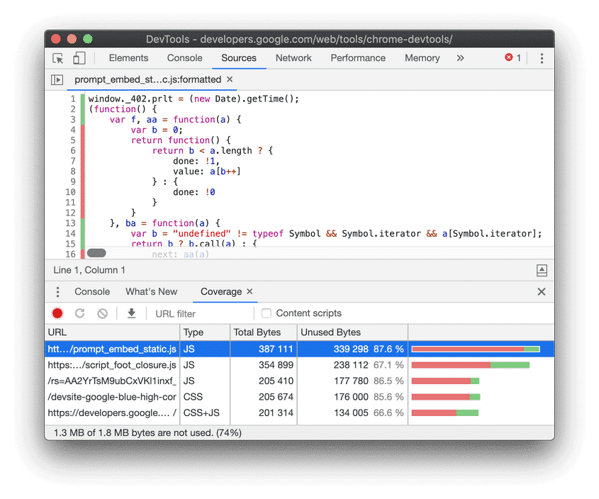A code coverage report - Source: DevTools