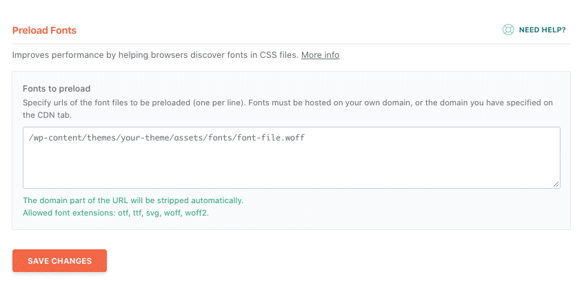 Adding the fonts to preload in WP Rocket dashboard according to PSI recommendations