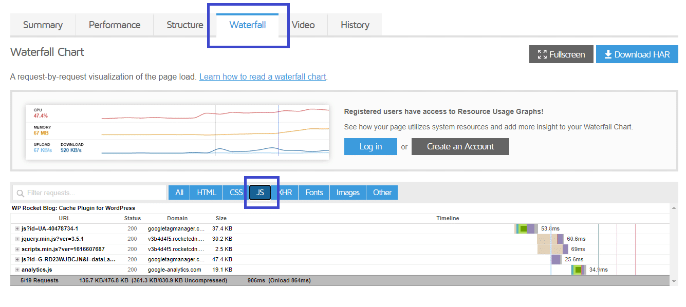 Waterfall feature to identify the most heavy JS scripts - source: GTmetrix