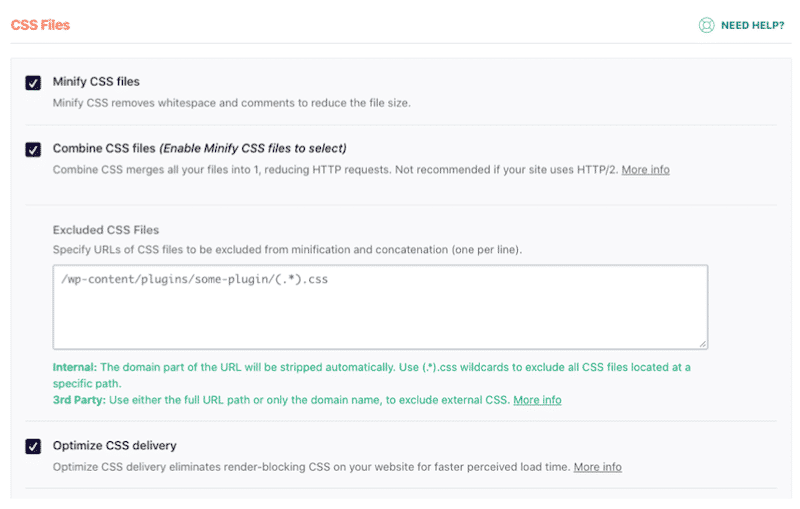 CSS files optimization - WP Rocket's dashboard