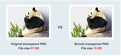 Example of a PNG before and after the compression
