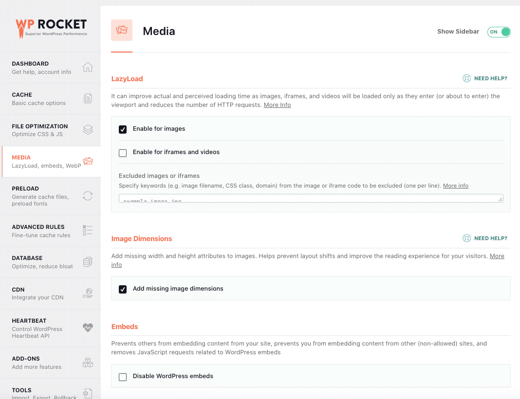 Media tab with checked options - WP Rocket dashboard