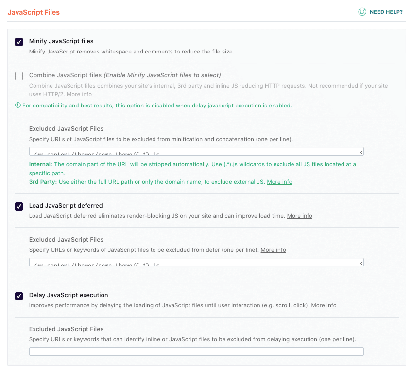 Minify, delay, and load JS deferred options activated by default - Source: WP Rocket dashboard