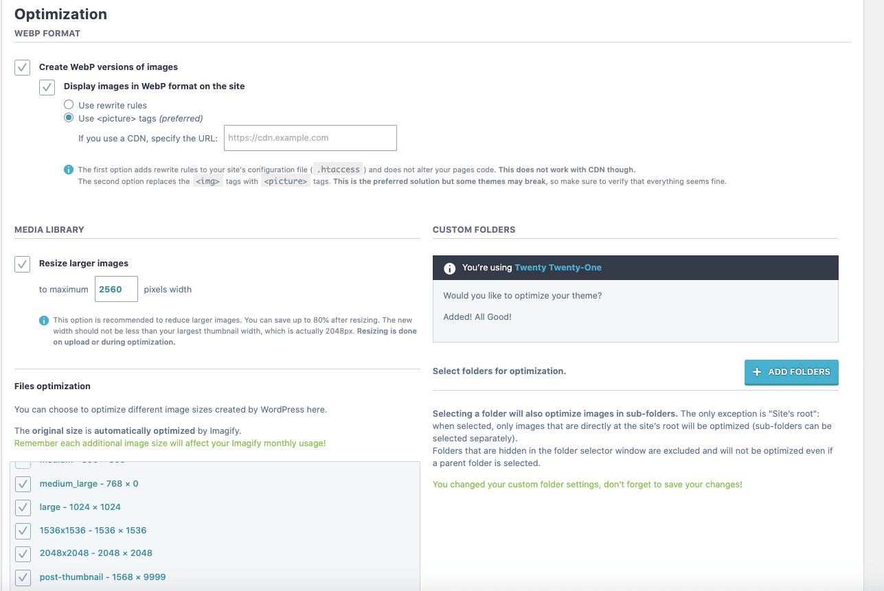 Imagify - Optimization settings