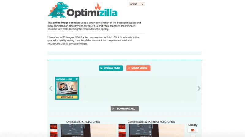 Optimizilla image compression tool