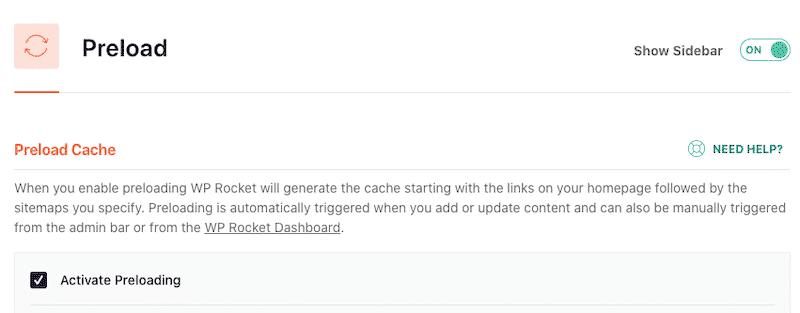 Preload Cache - WP Rocket