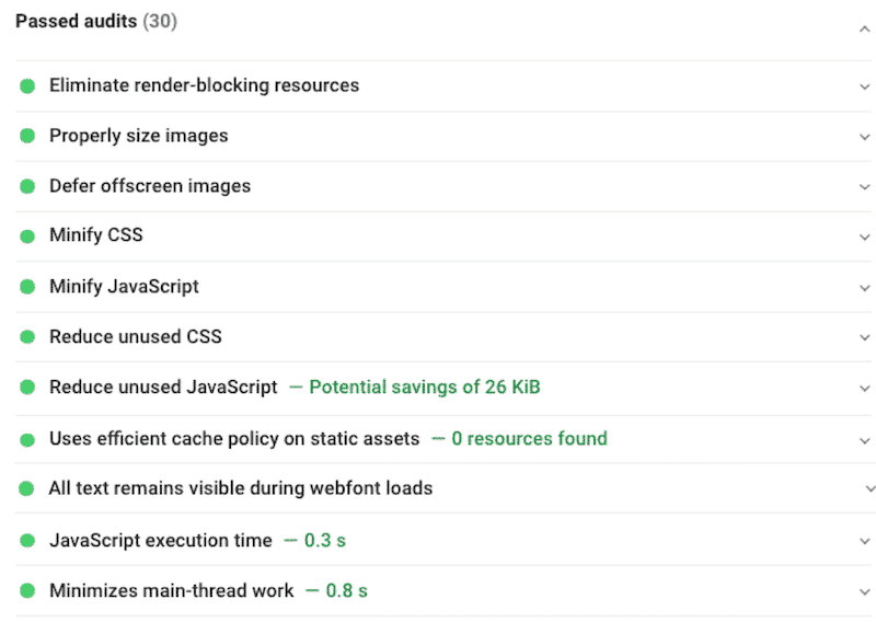 """My """"passed audits"""" list significantly longer with WP Rocket activated"""