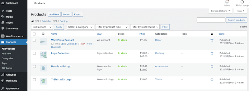 Extract of my products page - WooCommerce dashboard