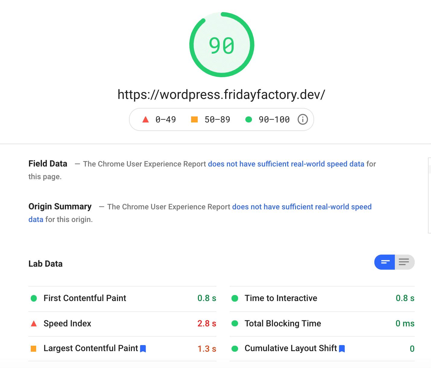OceanWP's result with content - Source: PSI desktop