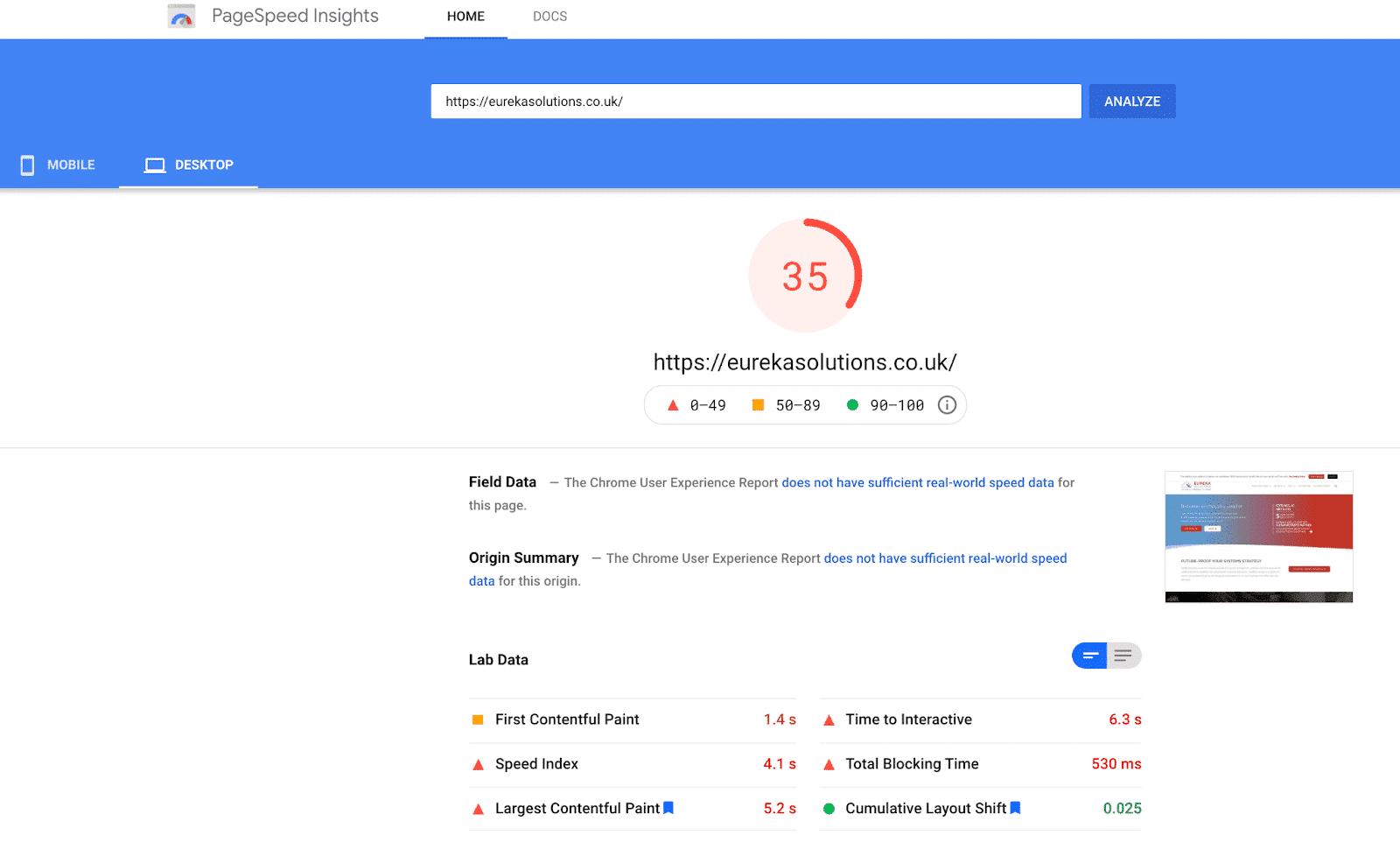 PageSpeed score from desktop
