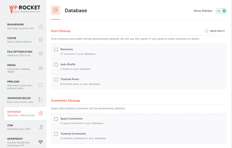 Post and comments clean-up section (1/2) - Source: WP Rocket dashboard