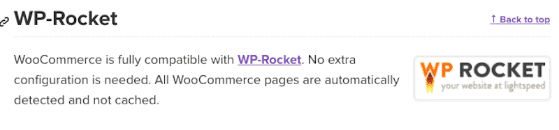 WooCommerce Compatibility with WP Rocket - Source: WooCommerce official website