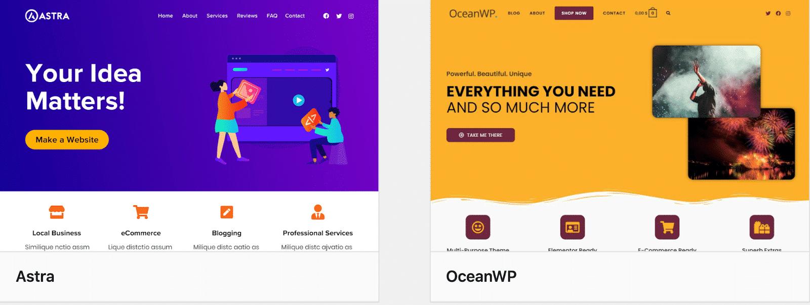 Astra vs OceanWP: performance comparison