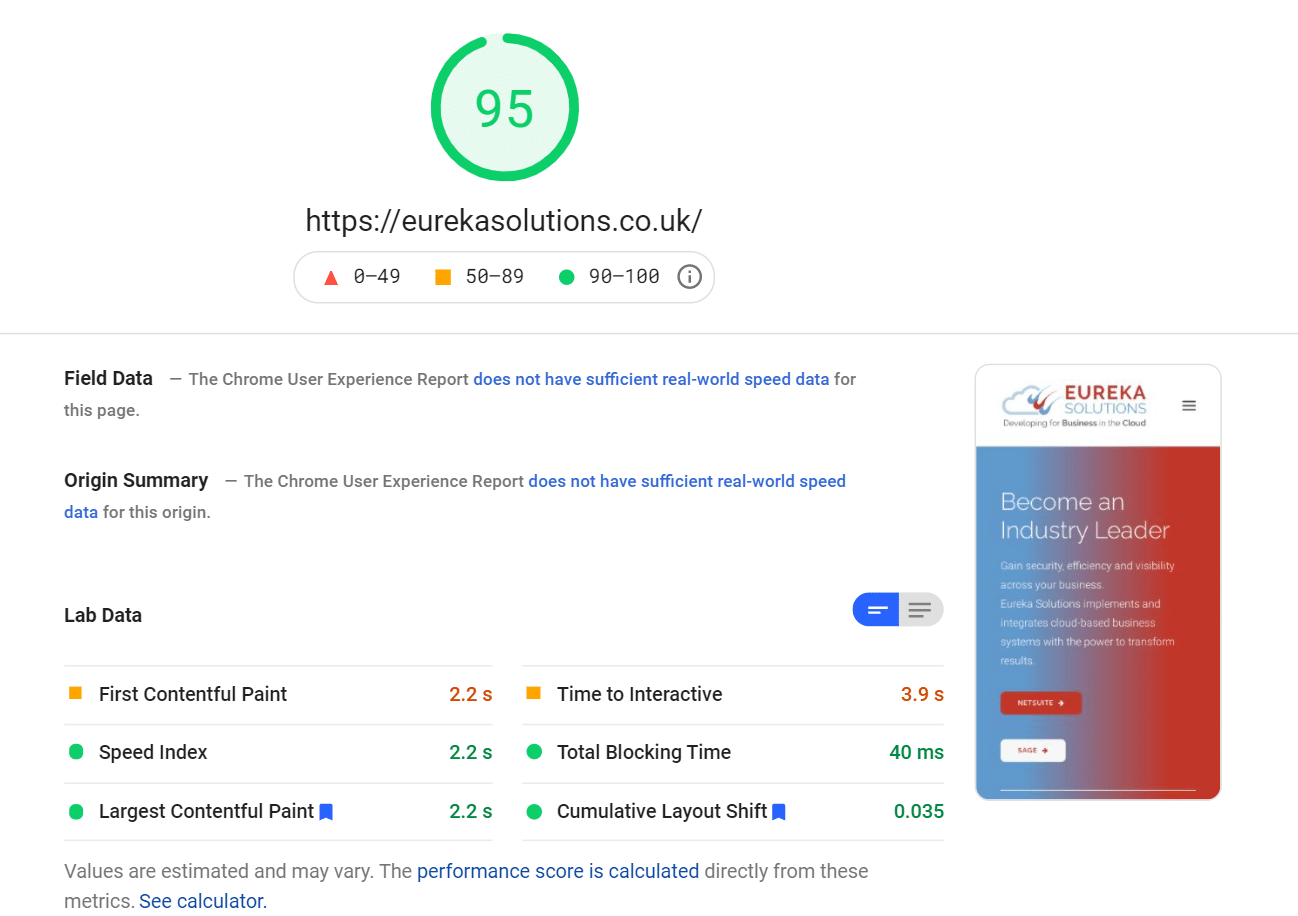 PageSpeed score from mobile after installing WP Rocket 3.9