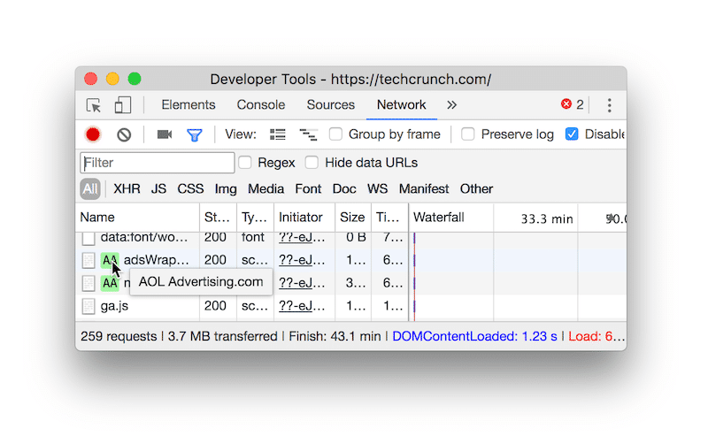 Identifying the external scripts that slow down my site — Source: Chrome DevTools