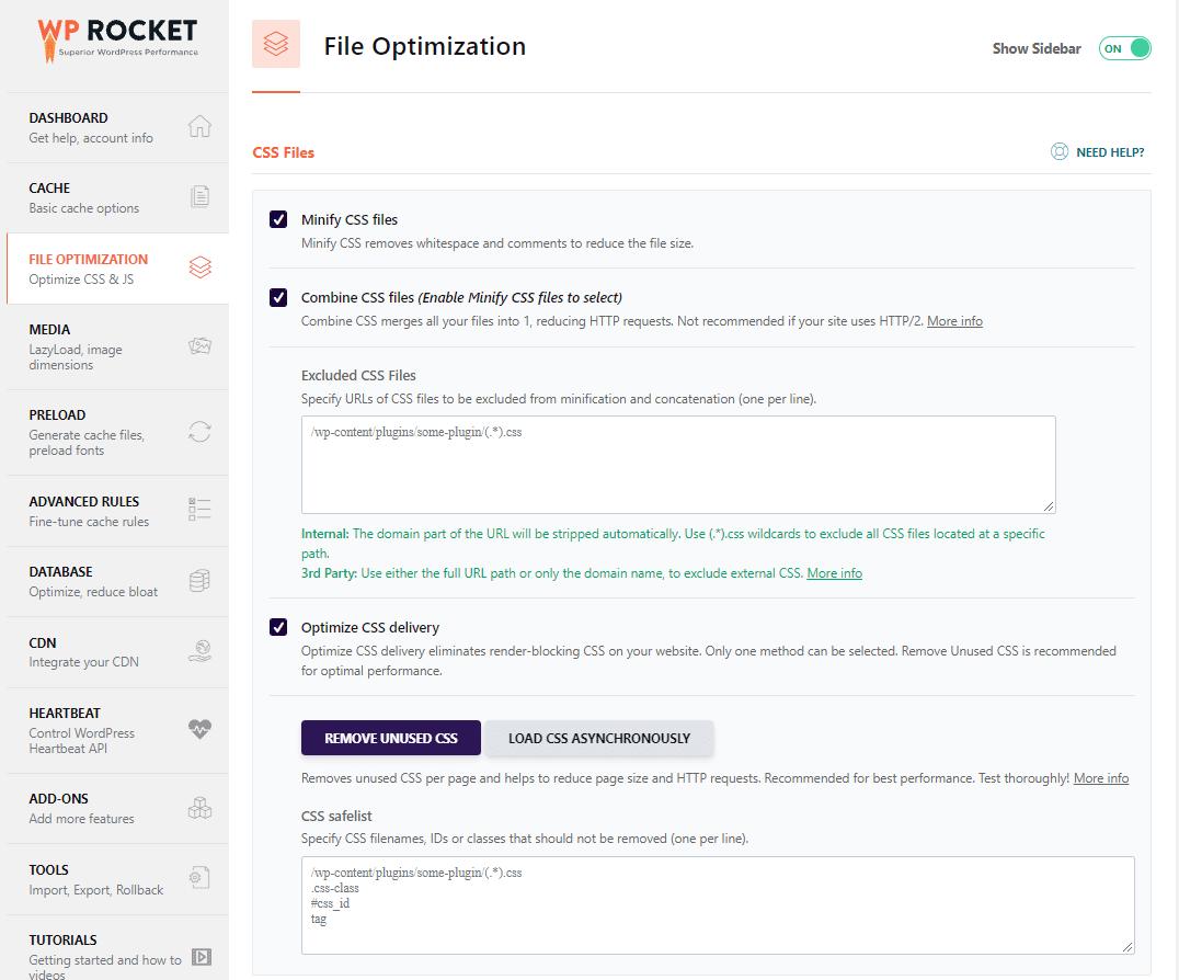 File Optimization tab CSS Files - WP Rocket