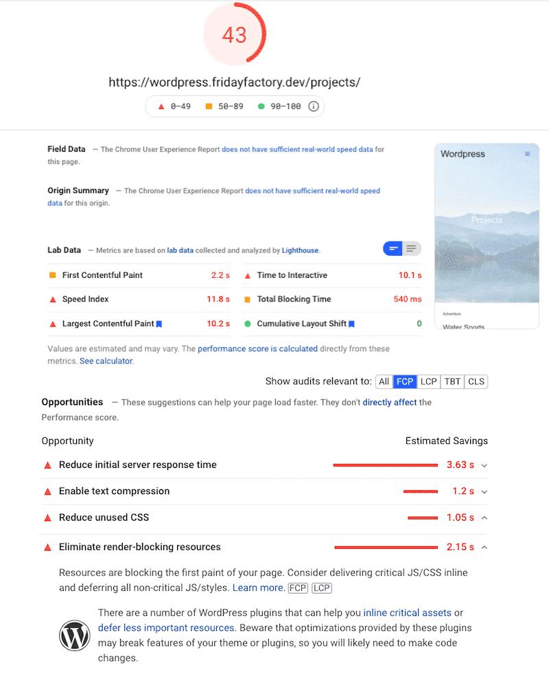 My WordPress site score on mobile (no WP Rocket) - Source: PSI