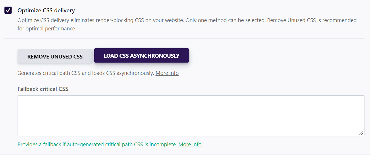Fallback critical CSS - WP Rocket
